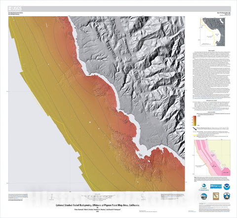 Map : California State Waters Map Series—offshore of Pigeon Point, California, 2015 Cartography Wall Art :