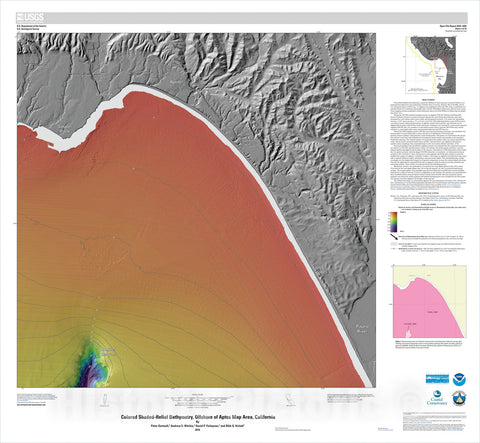 Map : California State Waters Map Series—offshore of Aptos, California, 2016 Cartography Wall Art :