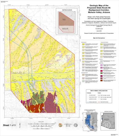 Map : Geologic map and report for the proposed State Route ninety-five realignment corridor, Mohave County, Arizona, 2009 Cartography Wall Art :