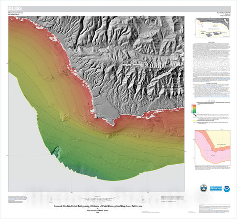 Map : California State Waters Map Series—offshore of Point Conception, California, 2018 Cartography Wall Art :