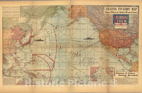 Historic Map : Amazing invasion map : Jap plan to seize the West Coast : Pictorial review, 1943, Vintage Wall Art