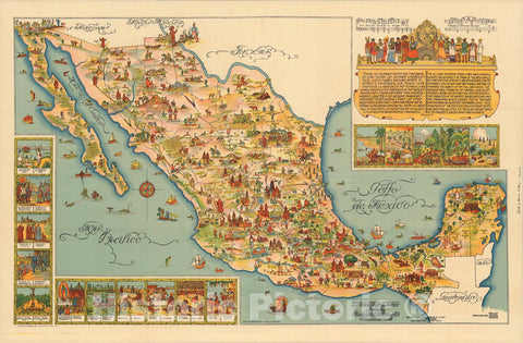 Historic Map : Pictorial Map of Mexico. Published by Fischgrund Pubishing Co., 1931, Vintage Wall Art
