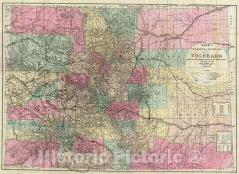 Historic Map : Map of the State of Colorado., 1884, Vintage Wall Art