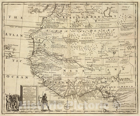 Historic Map : Negroland, adjacent countries., 1747, Vintage Wall Art