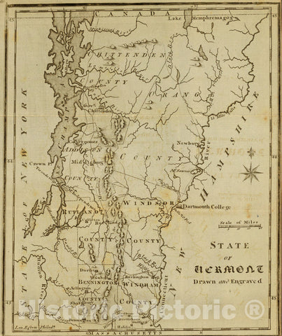 Historic Map : State of Vermont Drawn and Engraved., 1795, Vintage Wall Art