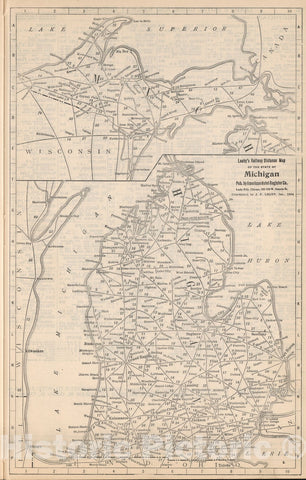 Historic Map : Railway Distance Map of the State of Michigan, 1934, Vintage Wall Art