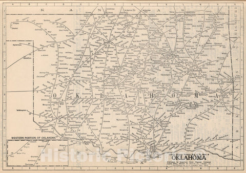 Historic Map : (Continues) Railway Distance Map of the State of Oklahoma, 1934, Vintage Wall Art