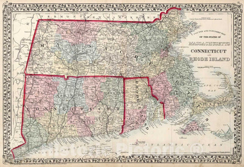 Historic Map : County and township map of the states of Massachusetts, Connecticut and Rhode Island, 1874, Vintage Wall Art