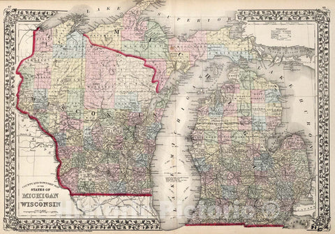 Historic Map : County and township map of the states of Michigan and Wisconsin, 1874, Vintage Wall Art