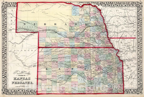 Historic Map : County & township map of the states of Kansas and Nebraska., 1874, Vintage Wall Art