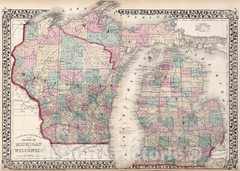 Historic Map : County and township map of the States of Michigan and Wisconsin, 1877, Vintage Wall Art