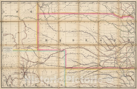 Historic Map : (Nebraska, Colorado) Railroad Map of the United States., 1891, Vintage Wall Art