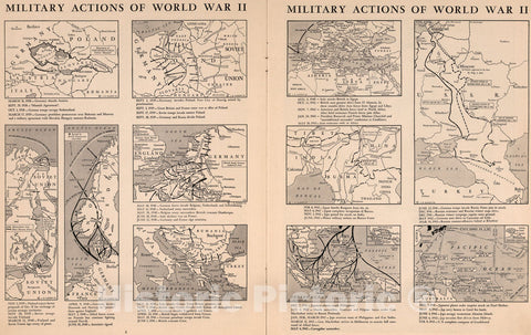 Historic Map : Military Action of World War II, 1943, Vintage Wall Art