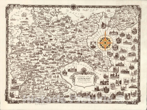 Historic Map : A Pictorial Map of Germany, 1935, Vintage Wall Art