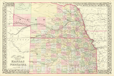 Historic Map : County & Township Map of the States of Kansas and Nebraska, 1882, Samuel Augustus Mitchell Jr., Vintage Wall Art