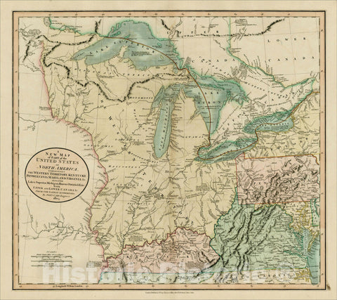 Historic Map : A New Map of Part of the United States of America, Exhibiting The Western Territory, Kentucky, Pennsylvania, Maryland, Virginia, 1805, John Cary, Vintage Wall Art
