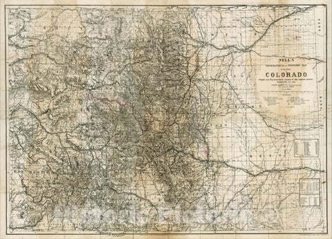 Historic Map : Nell's New Topographical & Township Map of the State of Colorado Compiled from U.S. Government Surveys, 1885, , Vintage Wall Art