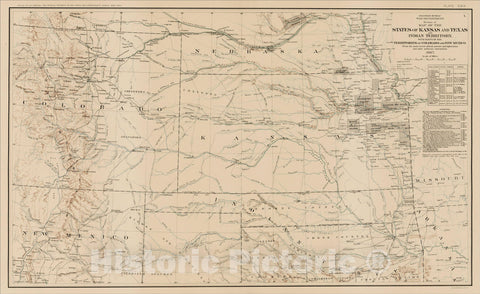 Historic Map : Section of Map of the States of Kansas and Texas and Indian Territory, with parts of the Territories of Colorado and Mexico, 1867, 1867, , Vintage Wall Art