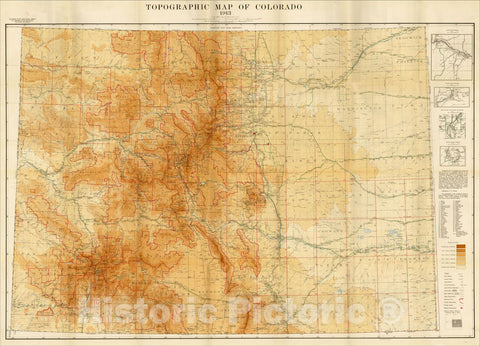 Historic Map : Topographic Map of Colorado 1913, 1913, Colorado State Geological Survey, Vintage Wall Art
