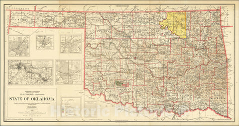 Historic Map : State of Oklahoma Compiled from official Records of the General Land Office U.S. Geological Survey, 1914, General Land Office, Vintage Wall Art