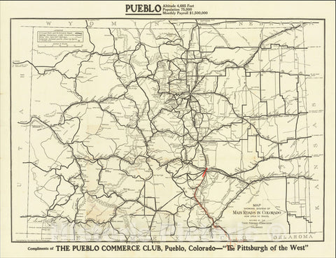 Historic Map : System of Main Roads in Colorado Now Open To Travel Revised By The State Highway Commission of Colorado, c1916, The Clason Map Company, Vintage Wall Art