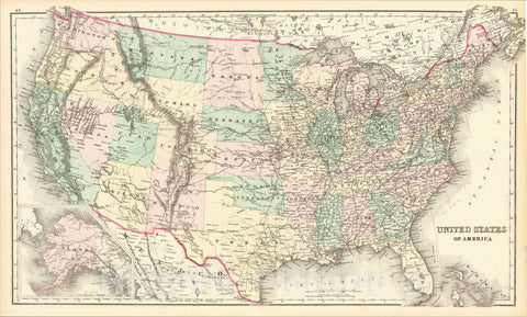 Historic Map : United States of America [Alaska inset], 1875, O.W. Gray, Vintage Wall Art