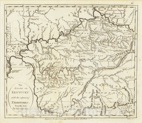 Historic Map : The State of Kentucky with the adjoining Territories from the best Authorities 1800, 1800, John Payne, Vintage Wall Art