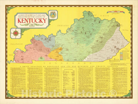 Historic Map : A Map of Agriculture and Industry in the State of Kentucky., 1935, Karl Smith, Vintage Wall Art