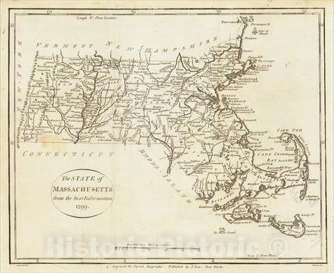 Historic Map : The State of Massachusetts from the best Authorities. 1799, 1799, John Payne, Vintage Wall Art
