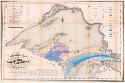 Historic Map : Geological Map of The Lake Superior Land District in the State of Michigan, 1849, Josiah Dwight Whitney, Vintage Wall Art