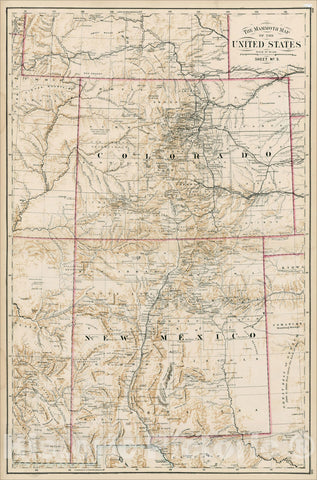 Historic Map : The Mammoth Map of the United States Sheet NO. 9 (Colorado, New Mexico etc.), c1877, , Vintage Wall Art