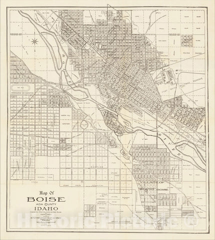 Historic Map : Map of Boise Ada County Idaho Compiled from Official City, County and State Records By Chester A. Werts, 1912, 1912, Chester Werts, Vintage Wall Art