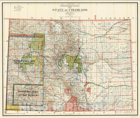 Historic Map : Map of the State of Colorado. Compiled from the official Records of the General Land Office and other sources, 192, 1902, General Land Office, Vintage Wall Art