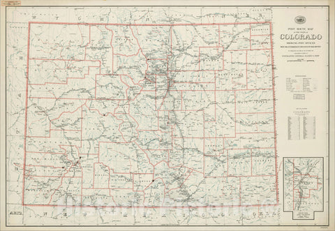 Historic Map : Post Route Map of the State of Colorado Showing Post Offices With The Intermediate Distances On Mail Routes, 1924, Vintage Wall Art