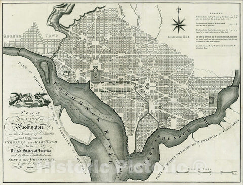 Historic Map : Plan of the City of Washington in the Territory of Columbia ceded by the States of Virginia and Maryland, 1795, John Russell, Vintage Wall Art
