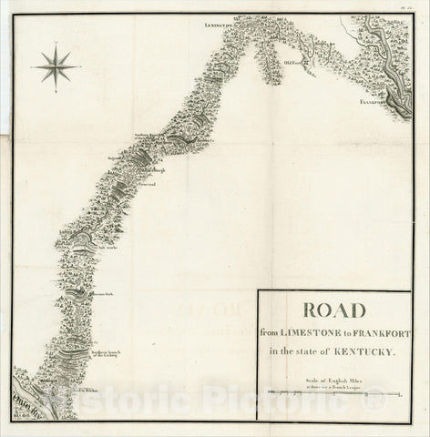 Historic Map : Road from Limestone to Frankfort in the state of Kentucky, 1826, Victor George Henri Collot, Vintage Wall Art