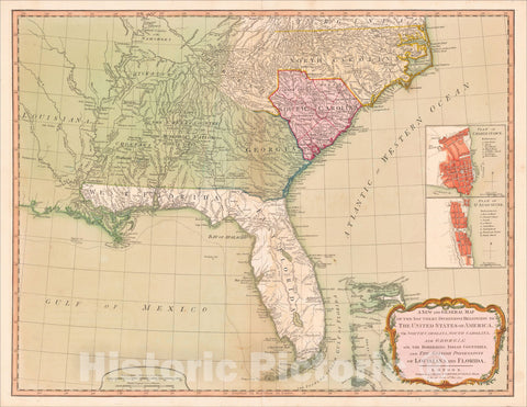 Historic Map : Southern Dominions Belonging to The United States of America, viz North Carolina, South Carolina, and Georgia: 1794, Richard Holmes Laurie, Vintage Wall Art