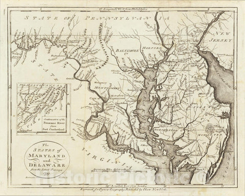 Historic Map : The States of Maryland and Delaware from the latest Surveys 1799, 1799, John Payne, Vintage Wall Art