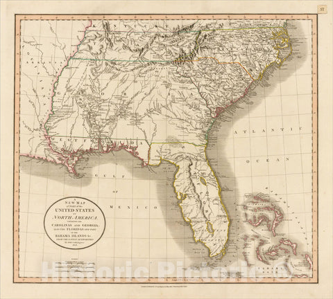 Historic Map : A New Map of Part of the United States of North America Containing The Carolinas And Georgia, 1806, John Cary, Vintage Wall Art