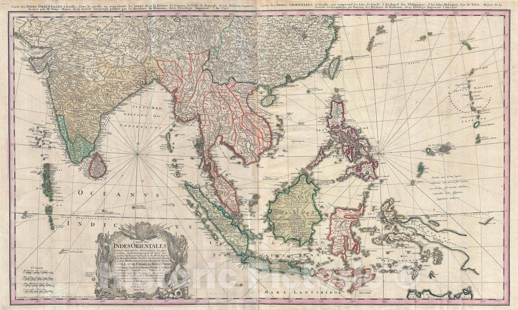 Historic Map : India, Southeast Asia, and The East Indies, Homann Heirs, 1748, Vintage Wall Art