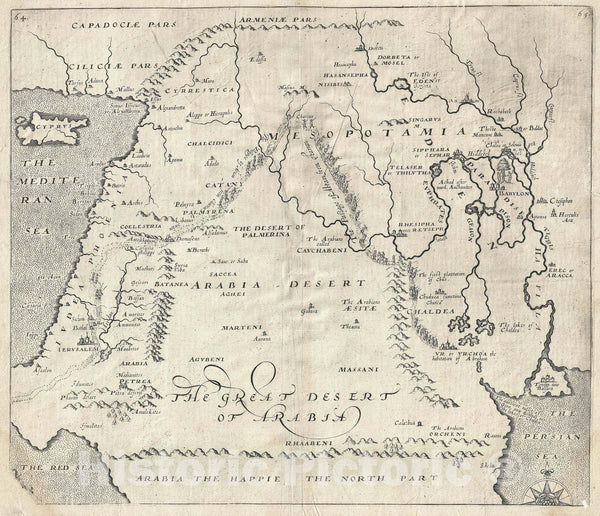 "Historic Map : The Middle East ""Arabia The Happie"", Sir Walter Raleigh, 1614, Vintage Wall Art"