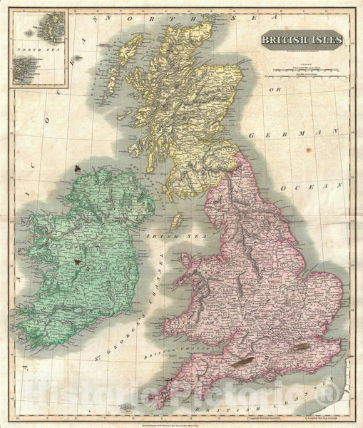 Historic Map : The British Isles with Shetland & Orkney Islands, Thomson, 1815, Vintage Wall Art