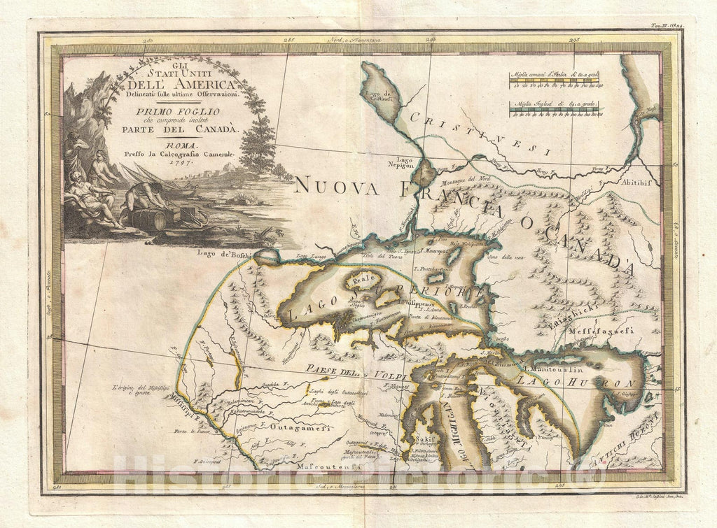 Historic Map : The Great lakes, Cassini, 1797, Vintage Wall Art