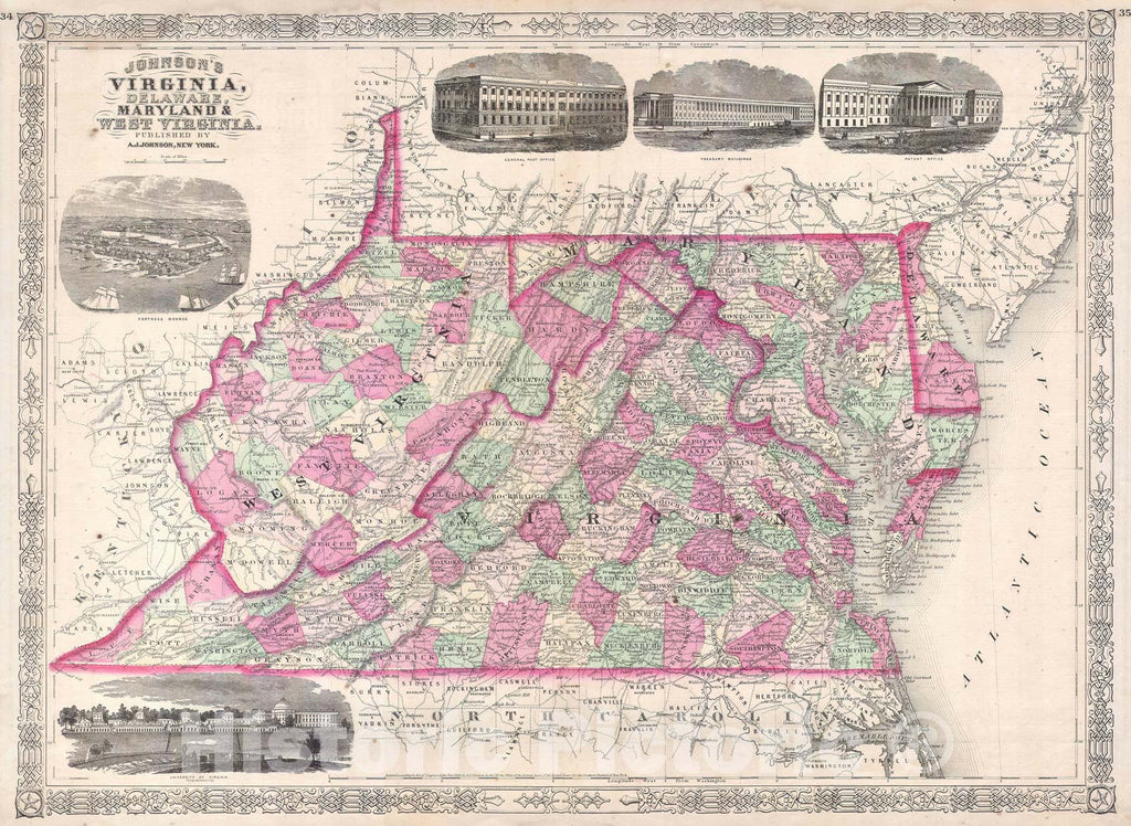 Historic Map : Virginia, Delaware, Maryland and West Virginia, Johnson's, 1864, Vintage Wall Art