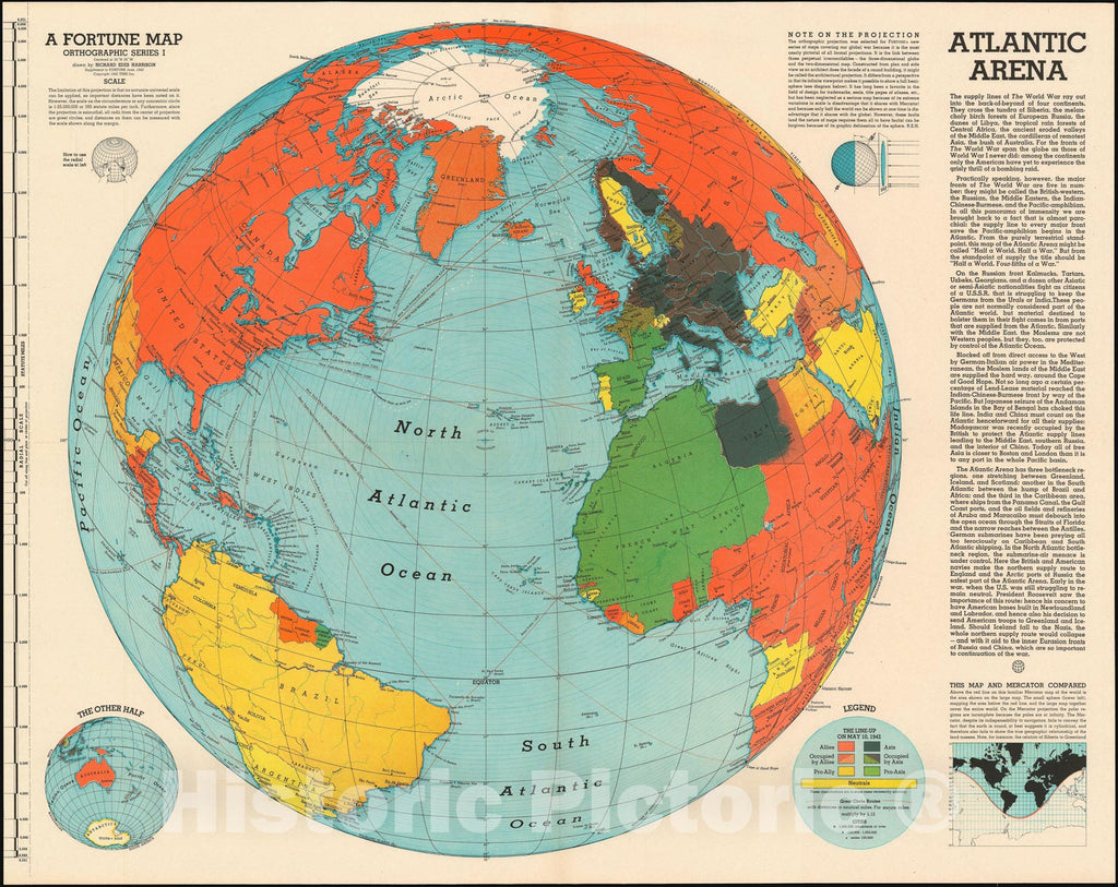 Historic Map : The World during World War II, Harrison, 1942, Vintage Wall Art