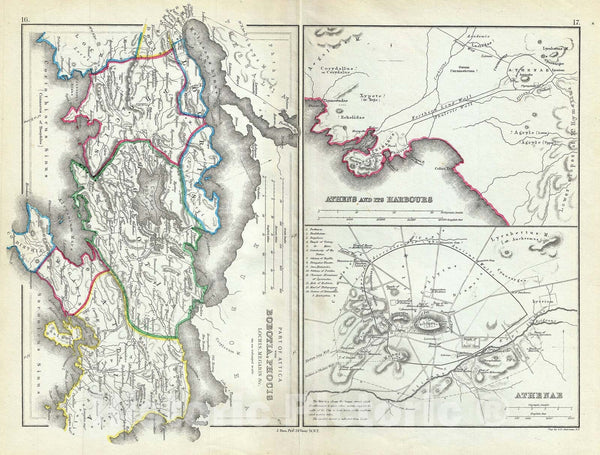 "Historic Map : Athens and Part of Attica ""Boeotia, Phocis"" in Ancient Greece, Hughes, 1867, Vintage Wall Art"