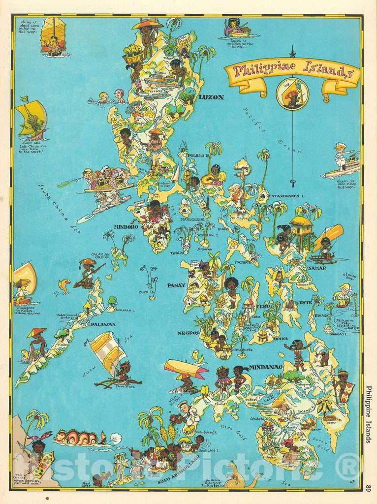 Historic Map : Pictorial Map of The Philippines, Ruth Taylor White, 1935, Vintage Wall Art