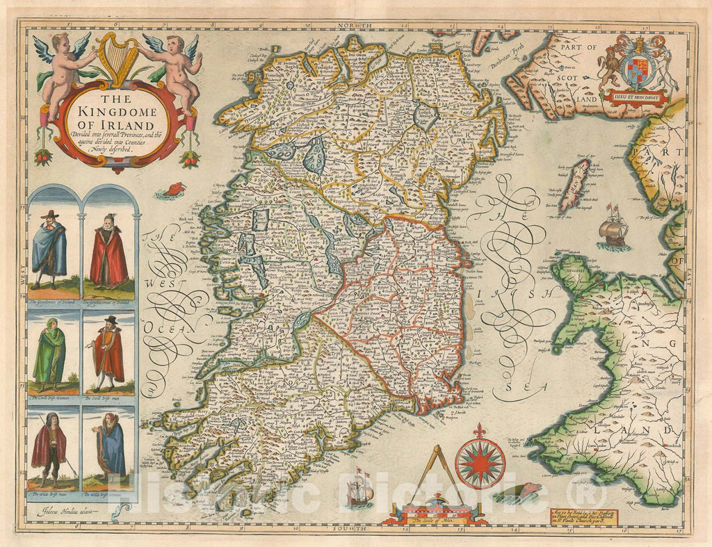 Historic Map : Ireland, John Speed, 1676, Vintage Wall Art