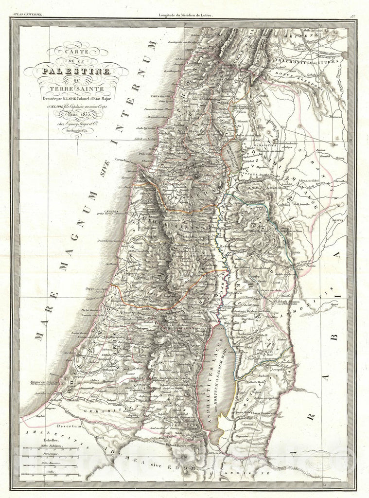 Historic Map : Israel, Palestine, or The Holy Land, Lapie, 1833, Vintage Wall Art
