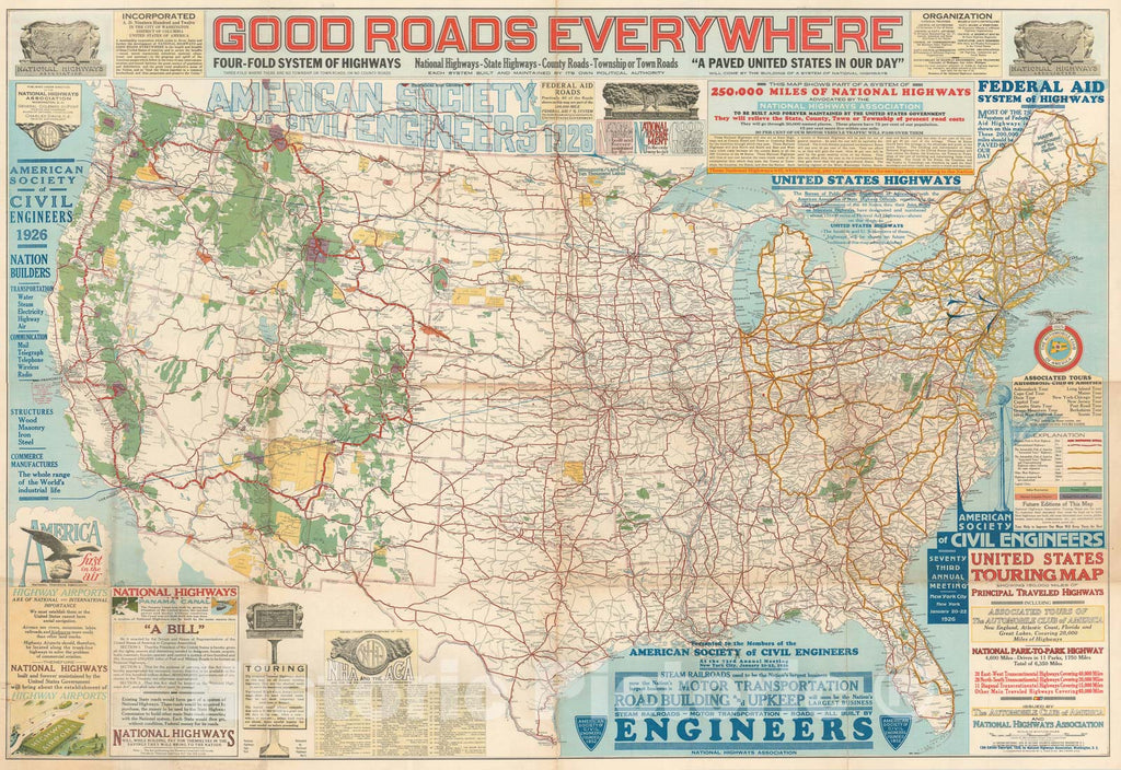 Historic Map : The United States: highway propaganda!, NHA, 1926, Vintage Wall Art